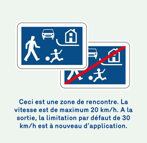 Image de 2 panneaux qui indiquent quand on rentre dans une zone de rencontre ou quand on sort. La vitesse est de maximum 20 km/h. A la sortie de la zone de rencontre, la limitation par défaut (30 km/h) est à nouveau d'application.