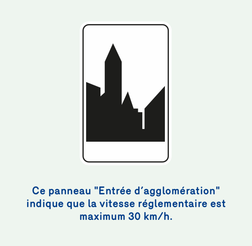 Image d'un panneau 'Entrée d'agglomeration' qui indique que la vitesse réglementaire est le 30 km/h sauf exception.