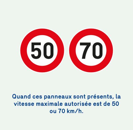 Image de 2 panneaux indiquant que la vitesse maximale autorisée est de 50 ou 70 km/h.